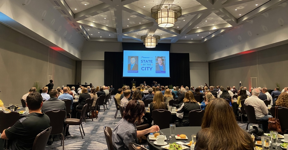 Round Rock Mayor Craig Morgan gave his annual State of the City address at the Kalahari Convention Center on Oct. 19. (Brooke Sjoberg/Community Impact Newspaper)