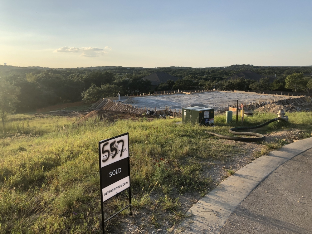 A sold lot in the Cortaro development in Dripping Springs is under construction. (Maggie Quinlan/Community Impact Newspaper)