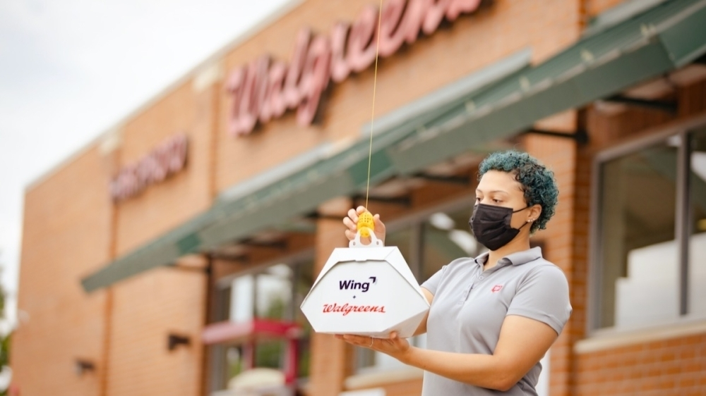 Drone-based delivery company Wing, a subsidiary of Alphabet, announced on Oct. 20 a partnership with Walgreens to bring the unconventional delivery model to densely populated metropolitan areas in the country. (Courtesy Wing)