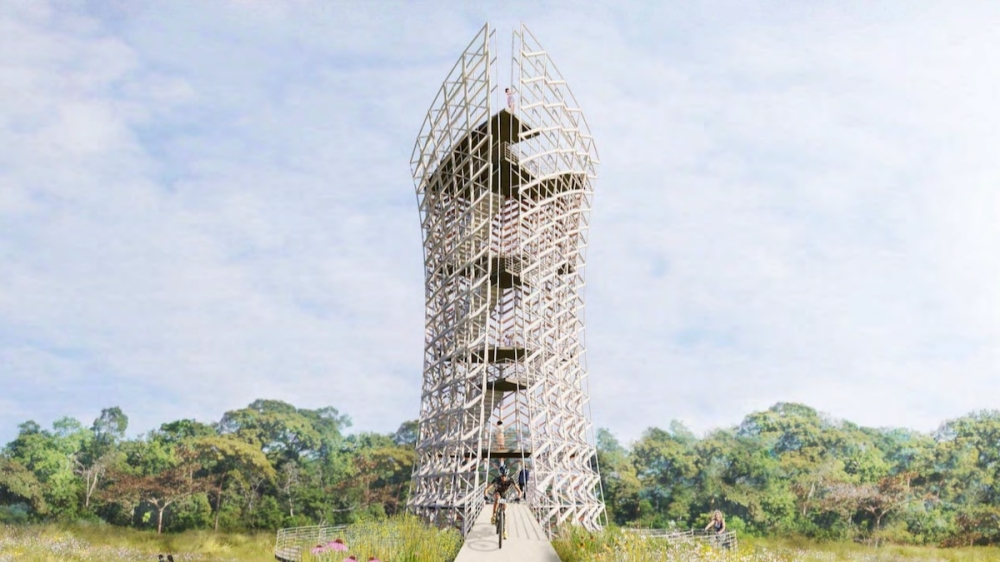 Renderings of the conceptual tower were shown depicting a roughly 100-foot tower, but the intent is to build a smaller tower. A total of $2.43 million was given as an estimated cost for a 100-foot gravity tower, but presenters said the cost would scale down with a smaller tower. (Courtesy city of Frisco)
