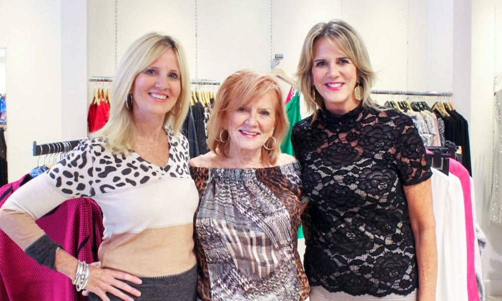 From left, Scruples Boutique is operated by Betty Ann Drury, Betty Griffin and Linda Griffin Deitert. (Emily Lincke/Community Impact Newspaper)