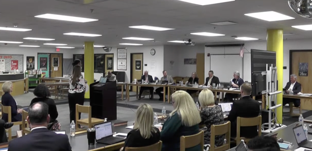 The SCUCISD board of trustees reviewed the annual report of top prioritygoals and board goals during the Oct. 19 meeting. (Jarrett Whitener/ Community Impact)