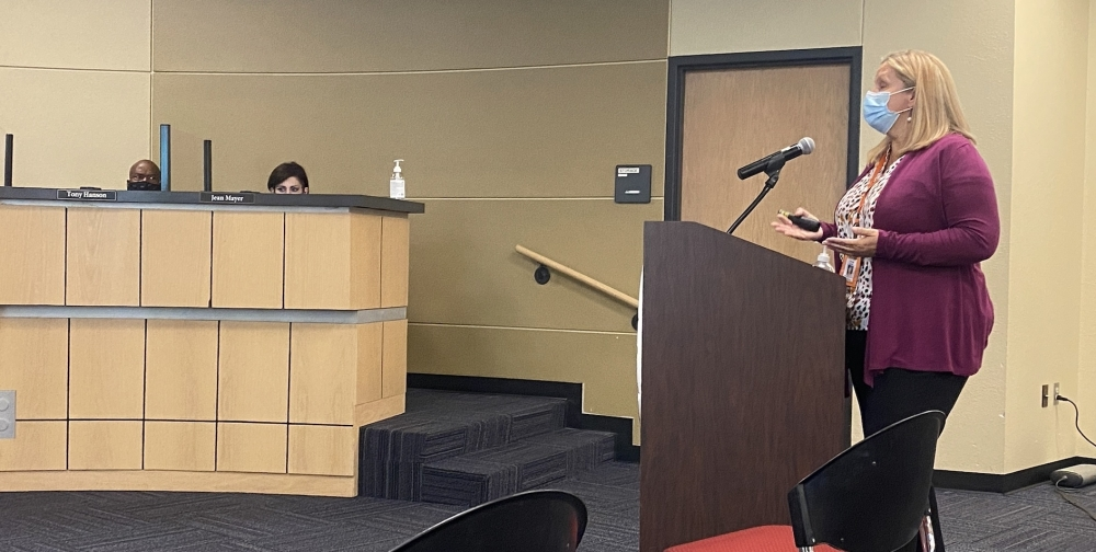 Chief Academic and Innovation Officer Brandy Baker addressed the PfISD board Oct. 21. (Brian Rash/Community Impact Newspaper)