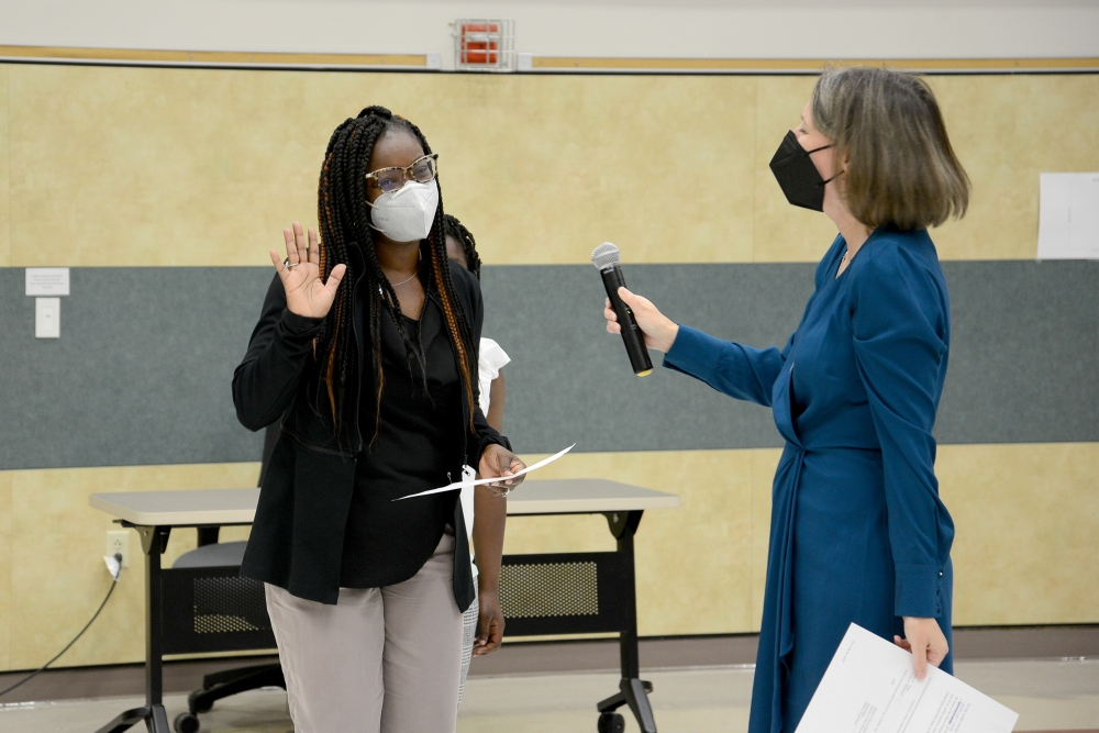 Sade Fashokun was sworn in as a Leander ISD trustee Oct. 21. (Courtesy Leander ISD)