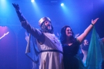 """Stageworks Theatre actors Michael Raabe and Alaina Richard take a bow during a Sept. 30 dress rehearsal of """"Monty Python's Spamalot,"""" which runs Oct. 1-30. (Emily Lincke/Community Impact Newspaper)"""