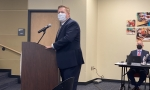 Brandon Cardwell, the district's executive director of facilities and construction, addressed the PfISD board during an Oct. 21 meeting. (Brian Rash/Community Impact Newspaper)
