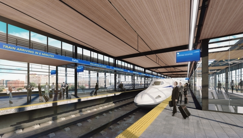 A conceptual rendering shows what a high-speed rail station in Dallas could look like. A final design on the station has not yet been released. (Courtesy Texas Central)