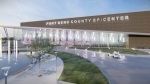 The EpiCenter, a multipurpose facility, will seat 10,400 people and will be used for rodeo events, sports tournaments and graduations. (Rendering courtesy Fort Bend County)