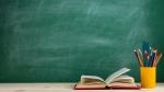 Book, colored pencils, chalkboard