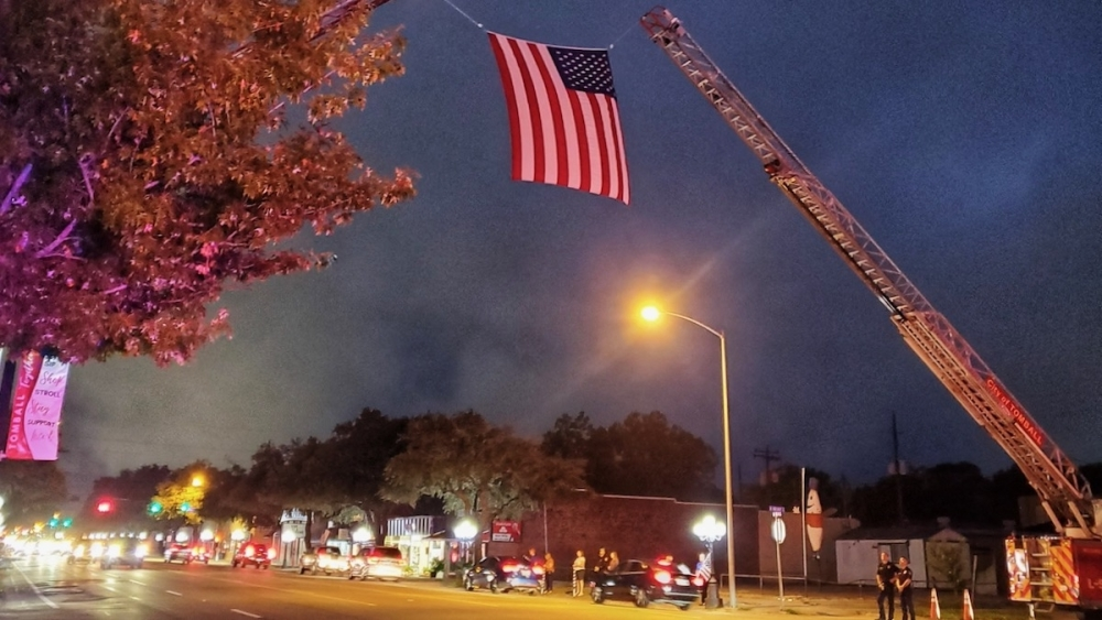 Tomball community members lined West Main Street in the early morning hours Monday to honor the fallen deputy during the funeral procession.(Courtesy Mike Baxter)