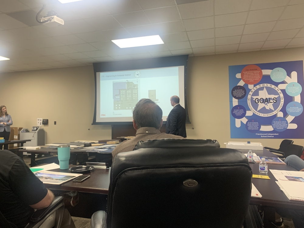 Houston-based PBK Architects presented the updated design plans for Cline Elementary School and Friendswood High School to the Friendswood ISD board of trustees. (Sierra Rozen/Community Impact Newspaper)