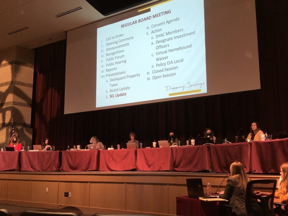 The Dripping Springs ISD board of trustees met Oct. 25 and discussed the possibility of approving a bonus for all district employees. (Maggie Quinlan/Community Impact Newspaper)