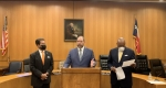 From left, Precinct 2 Commissioner Adrian Garcia, Wayne Young, CEO of The Harris Center for Mental Health and IDD, and Precinct 1 Commissioner Rodney Ellis announced a new community-initiated mental health care project during a press conference Oct. 26. (Screenshot via Facebook Live)