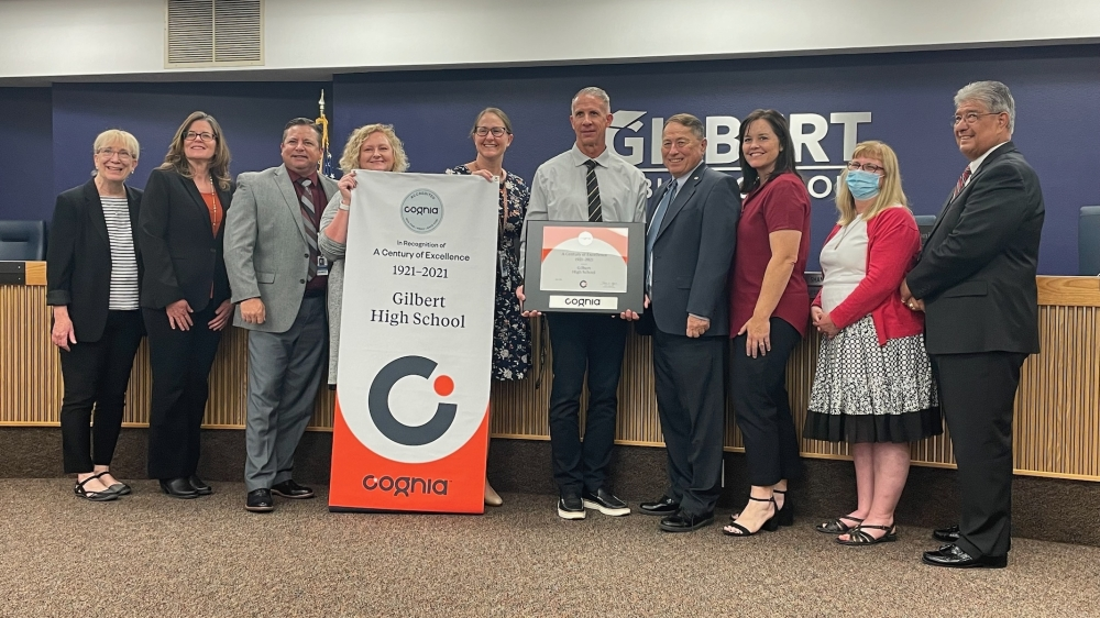 Representatives from accreditation group Cognia, Gilbert High School and the Gilbert Public Schools administration and governing board