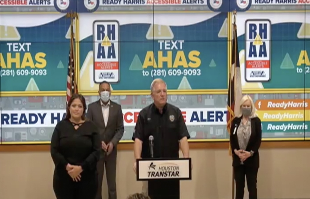 Harris County residents with certain disabilities will now have better access to potentially life-saving information, thanks to a new accessible alert system launched by The Harris County Office of Homeland Security and Emergency Management Oct. 26. (Screenshot via Facebook Live)