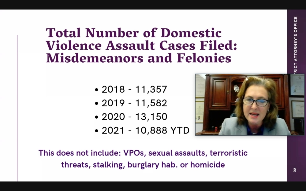 Harris County District Attorney Kim Ogg outlines the current domestic violence situation in the county during an Oct. 27 web panel. (Community Impact Newspaper via Harris County District Attorney's Office)